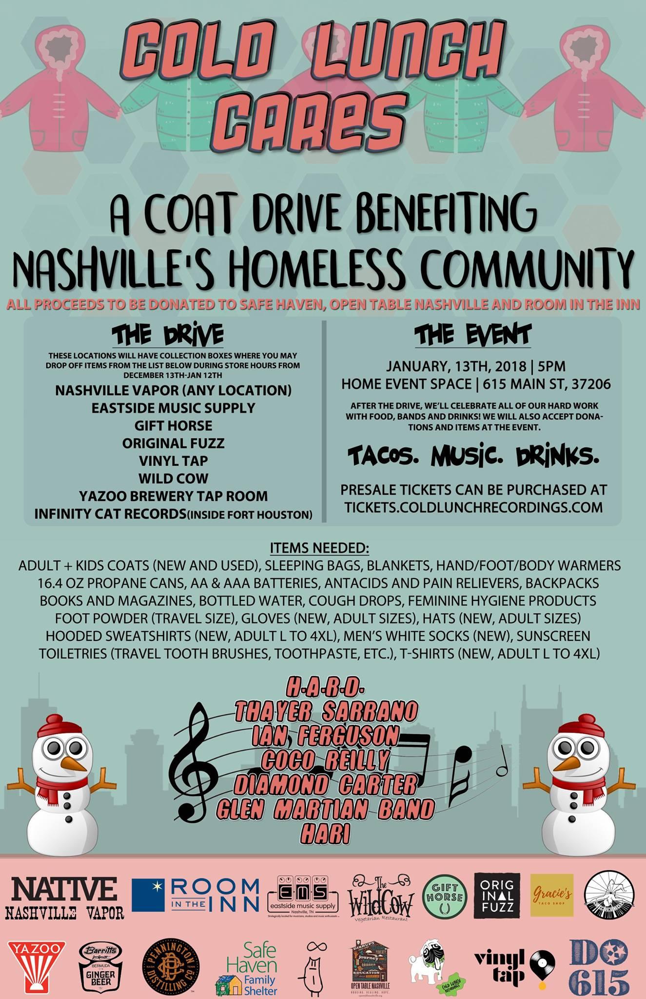 Thayer Sarrano - Cold Lunch Recordings Homeless Benefit (Nashville, TN)