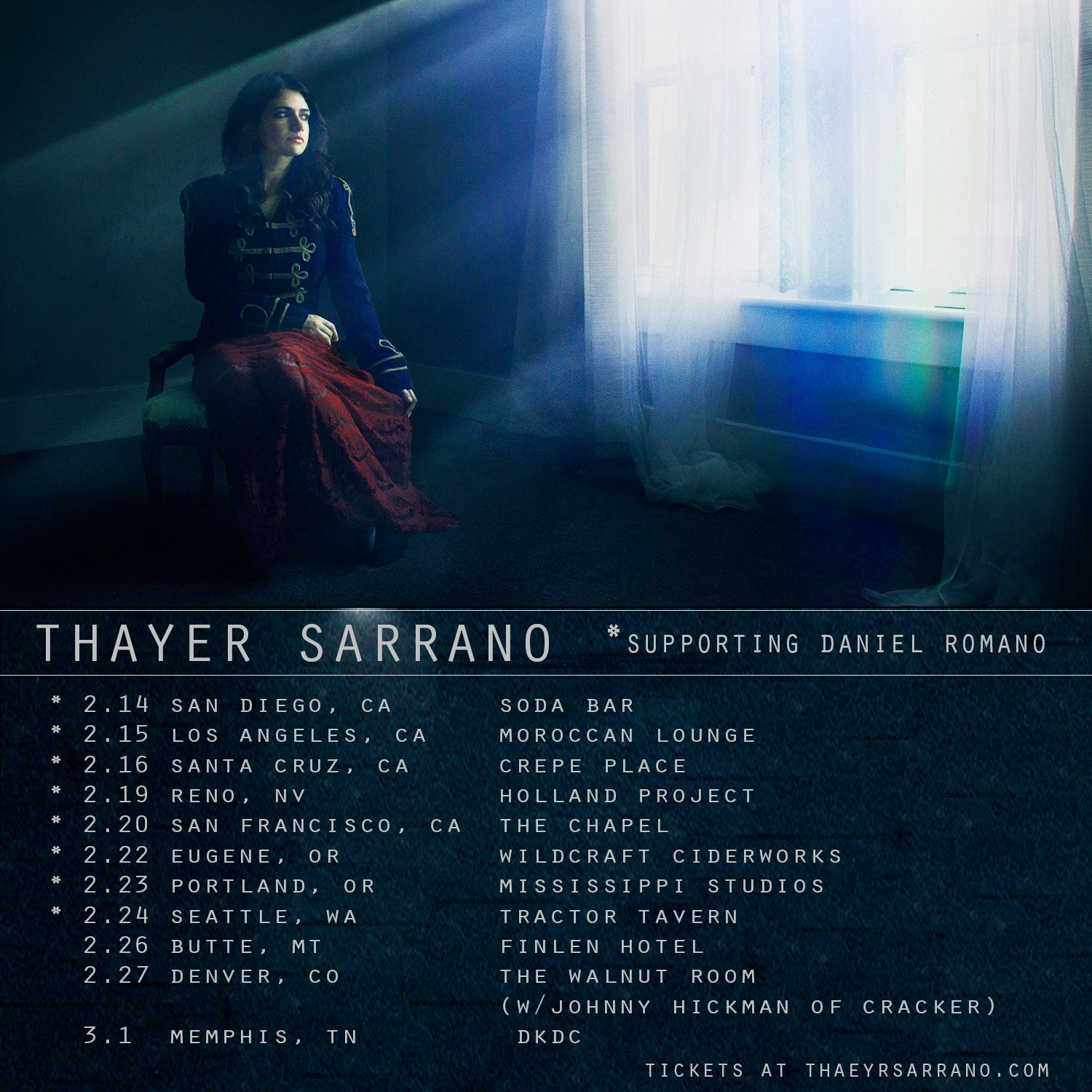Thayer Sarrano - West Coast Tour (2019) (Photo: Curtis Wayne Millard Studio)